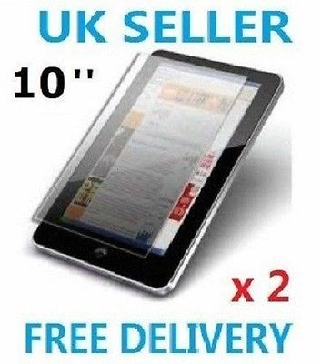 "2 x PROFESSIONAL SCREEN PROTECTOR FOR 10"" INCH ANDROID TABLET PC EPAD APAD UK"