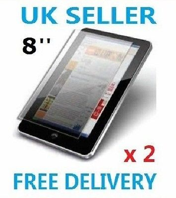 "2 x PROFESSIONAL SCREEN PROTECTOR FOR 8"" INCH ANDROID TABLET PC EPAD APAD UK"