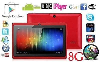 "7"" INCH RED DUAL CORE CAMERA ANDROID 4.4 TABLET Allwinner A23 NETBOOK 8G GIFT"