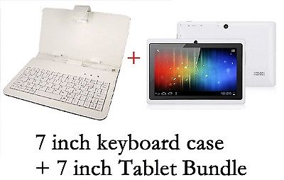 "7"" INCH WHITE KEYBOARD+7 INCH ANDROID 4.0.4 TABLET Allwinner A13 4G GIFT BUNDLE"