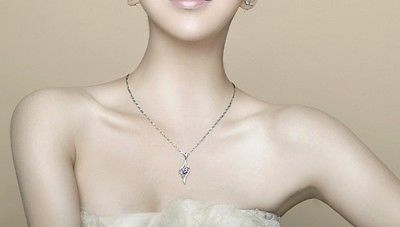 925 Silver Plated Diamante Necklace Gift