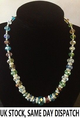 Beautiful Fashion Faceted Crystal Glass Spacer Graduated Necklace Gift