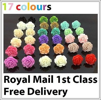 Carved Colourful Rose Flower Stud Earrings Valentine Wedding Prom Gift
