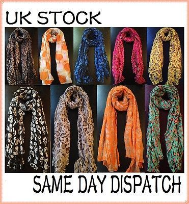 Celebrity Large Animal Leopard Print / Skull Shawl Scarf Gift