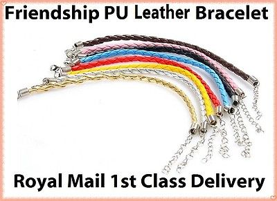 Colourful  Friendship Braided PU Leather Charm Bracelet Steel Clasp & Chain Gift