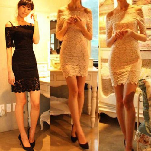 Elegant Womens Lace Off Shoulder Short Sleeve Dress Mini dress White/Black