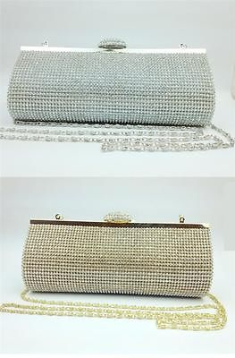Evening Clutch Wedding Party Prom Crystal Diamante Hand Bag Silver/Gold Gift