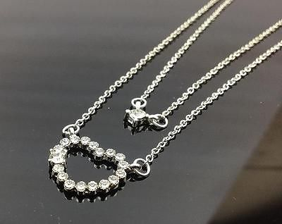 FASHION DOUBLE  LAYER CRYSTAL HEART PENDANT CHARM NECKLACE GIFT