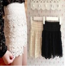 Fashion Girl Womens Cute Crochet Tiered Lace Shorts Skirt Pants Beige/Black