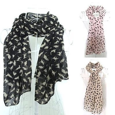 Fashion Ladies Soft Celebrity Animal Cat Print Chiffon Scarf Shawl