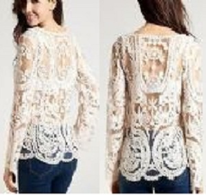 Fashion Sexy Semi Sheer Long Sleeves Embroidery Floral Lace Crochet Top Blouse
