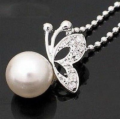 Fashion Silver Pearl Butterfly Necklace Gift