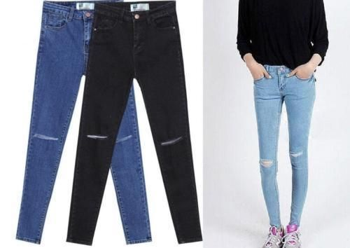 FASHION TRENDY WOMEN LADIES GIRLS SKINNY SLIM JEANS RIPPED CUT OUT