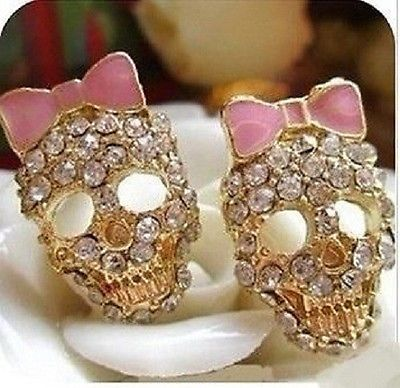 Fashion Woman/Girl Lovely Retro Crystal Pink Bow Skull Ear Stud Earrings Gift