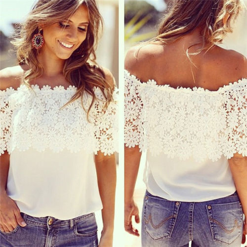 Fashion Women Off Shoulder Casual Tops Blouse Lace Crochet Chiffon Shirt