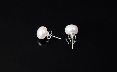 GENUINE CULTURED FRESHWATER WHITE PEARL STUD EARRINGS 925 STERLING SILVER 5mm