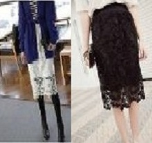 Girl Womens Crochet Lace Double Layer Lining Bodycon Elastic Waist long Skirt