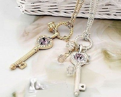 Heart Key Crown Purple Rhinestone Pendant Necklace