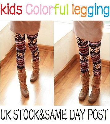 Kids Soft Knitted Patterned Casual/Fashion Comfortable Leggings Xmas Gift
