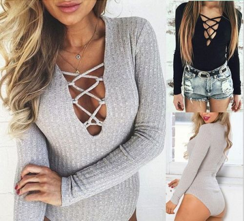 Ladies Ribbed Front Plunge Lace up Tie Leotard Bodysuit Deep V Top