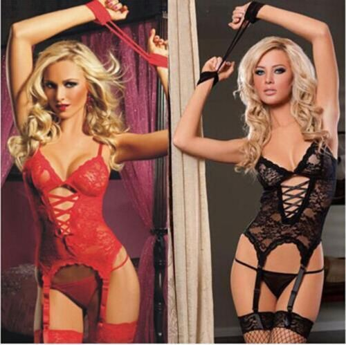 Ladies Sexy Lingerie Nightwear Underwear Babydoll+G String +Stocking Lace Dress