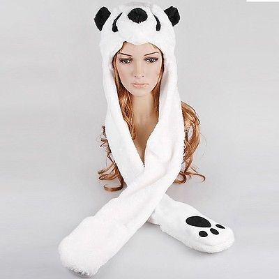 Ladies Teens Kids Faux Fur Fluffy Animal panda Hat Hood with Pocket Scarf