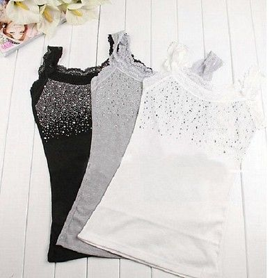 Ladies Women Lace Strip Crystal Tank Vest Tops Casual Shirt