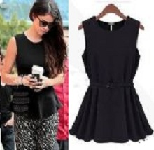 Ladies Women Round Collar Sleeveless Chiffon Blouse Top Shirt With Waist Belt