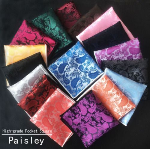 Men Paisley Jacquard Silk square Wedding pocket Hanky Handkerchief