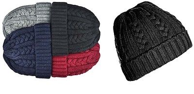MENS BOYS UNISEX CABLE KNIT TURN FOLD UP BEANIE SNOW SKI CAP WINTER THICK HAT