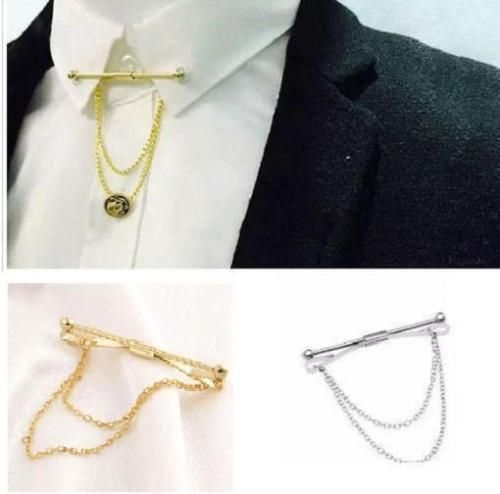 Mens Neck Tie Shirt Pin tie 5.5 cm Bar Silver Gold Collar Clip Clasp With Chain