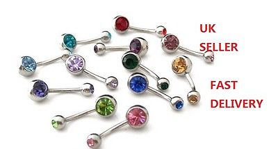 New Fashion Double Gems Crystal Navel Rings Belly Bars Gift