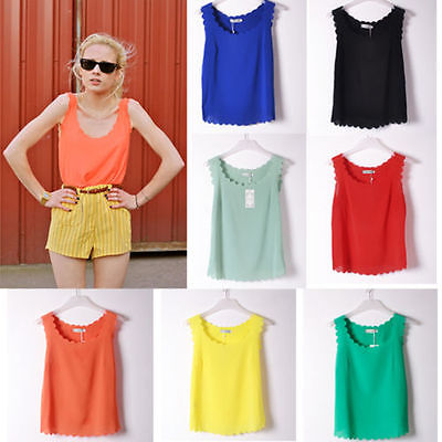 New Fashion Ladies Girl Sexy Sleeveless Chiffon Vest Top Tank shirt Blouse S/M/L