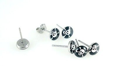 New Fashion Man/Women/Boys/Girls SKULL LOGO PICTURE EARRING STUDS