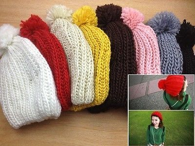 New Fashion Women Warm Winter Beanie Ball of Yarn Crochet Hat Colourful Gift