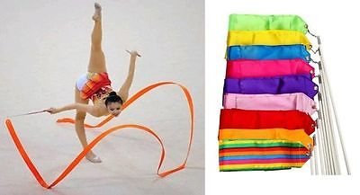 New Gym Dance Ribbon Rhythmic Art Gymnastic Streamer Baton Twirling Rod Stick 4M