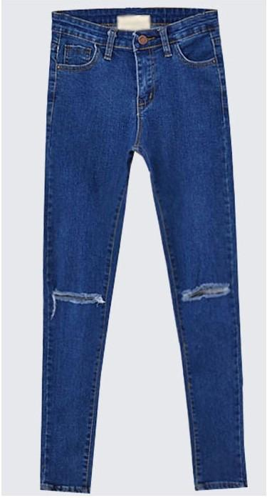 LADIES WOMEN NEW SKINNY SLIM JEANS RIPPED CUT OUT PANTS