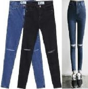 NEW LADIES WOMEN  SKINNY SLIM JEANS RIPPED CUT OUT PANTS