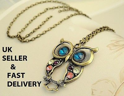 NEW Rhinestone Hollow-Out Owl Pendant Necklace