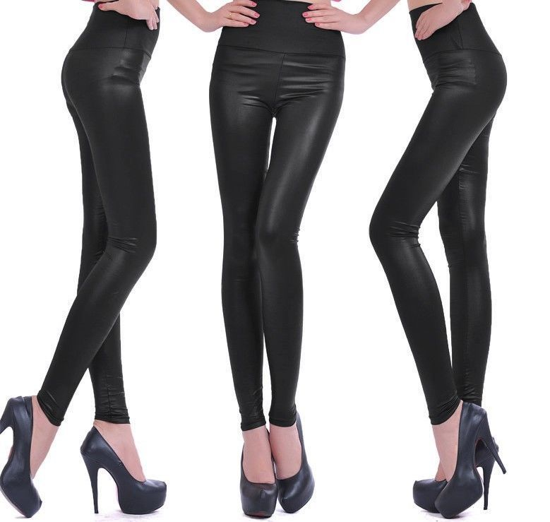 118d8b4e294d3 New Sexy Women Ladies High Waist Wet Look Faux Leather Leggings S/M/L .