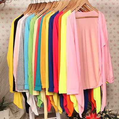 New Summer Women Girl Casual Open Cardigan Sweater Long Sleeves Top Colorful