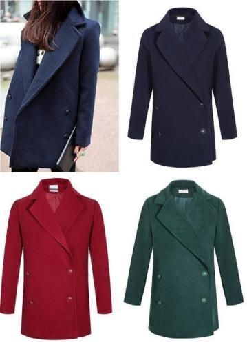 New Winter Women Boyfriend Style Warm Coat Turndown Collar Jacket Casual Coat