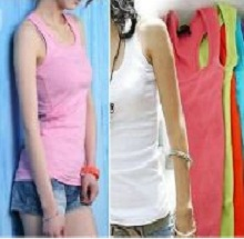 New Women Girl Sleeveless T-Shirt Tank Tops Cami Vest Slim Fit Cotton