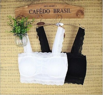 NEW WOMEN LADIES WHITE/BLACK LACE PADDED BRALETTE TOP