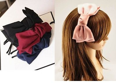Oversized Lovely Hand Made Double Layered Satin Bow Metal band Hairband Headband