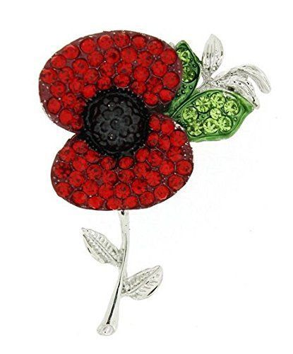 Poppy Flower Brooch Lapel Pin Fashion Crystal Red Flower Badge Pin Broach Silver