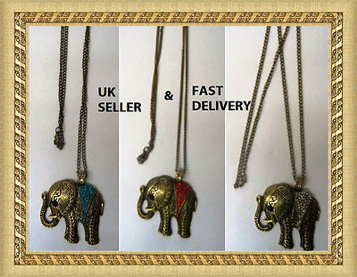 Rhinestone Lucky Elephant Pendant Necklace 3 colors