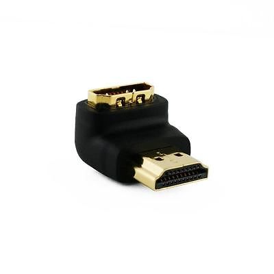 right angle hdmi male to female connector adapter 90 degree bend gold plated