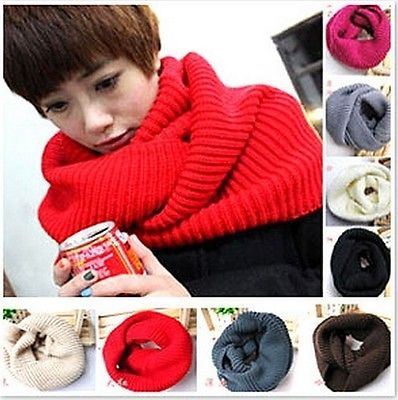 Scarf Ladies Men Winter Fashion Knitted Crochet Long Tube Shawl Neck Warmer Gift