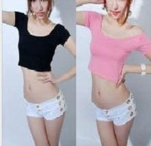 Sex Girl Women Off-Shoulder Midriff-baring Party T-Shirt Short Tops